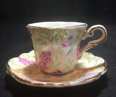 Grosvenor England Miniature Cup & Saucer in Yellow Pointillism & Floral