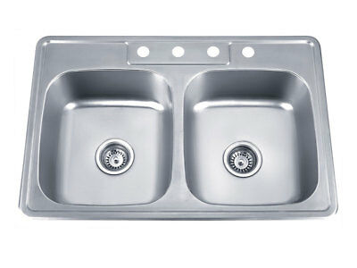 18 Gauge Stainless Steel 4-Hole Topmount 50/50 Double Bowl Sink (Unbranded)