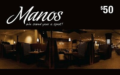 Manos Restaurant & Lounge Gift Card - $50 Mail Delivery