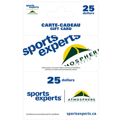Sports Experts Gift Card - $25 Mail Delivery