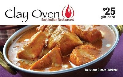 Clay Oven East Indian Restaurant Gift Card - $25 Mail Delivery