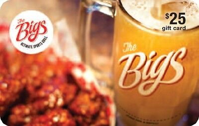 The Bigs Ultimate Sports Grill Gift Card - $25 Mail Delivery