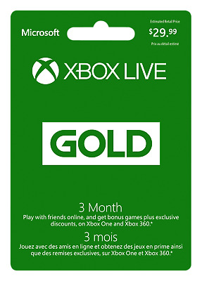 Xbox Live Gold Membership Gift Card - $29.99 Mail Delivery