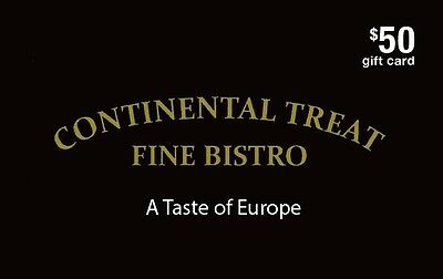 Continental Treat Fine Bistro Gift Card - $50 Mail Delivery
