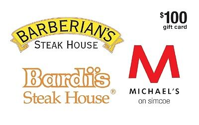 Top Toronto Steakhouses Gift Card- $100 Mail Delivery