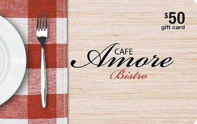 Café Amore Bistro Gift Card- $50 Mail Delivery