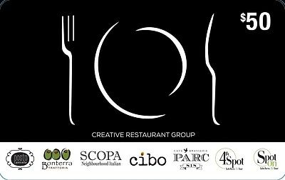 Creative Restaurant Group Gift Card - $50 Mail Delivery