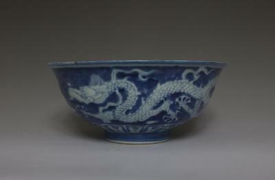 Very Rare Large Chinese Blue And White Porcelain Bowl With Dragon (257)