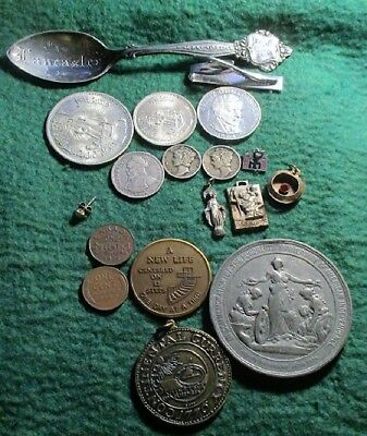 Silver Coins And Sterling Items Lot Plus A 14K Earring Stud And Other Items