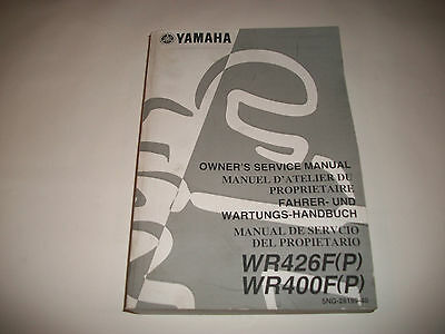Official Shop Service Manual 2002 Yamaha Wr426F(P) Wr400F(P) Motorcycle Clean