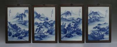 Very Rare Four Chinese Blue And White Scroll Plate Wangbu Marked (260)