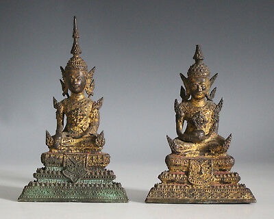 Two Antique Thai Rattanakosin gilt bronze figures of Buddha