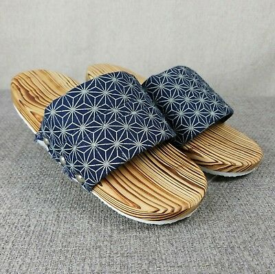 Japanese Navy Kimono Wooden Sandals Slides Shoes Size US 7 - 7.5 Prop?