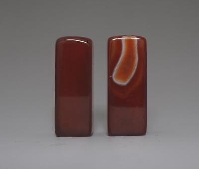 Pair Perfect Chinese Carved Natural Agate Seal (188)