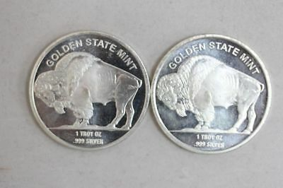 Golden State Mint GSM 1 oz .999 Fine Silver Round - Indian Head Buffalo Bison