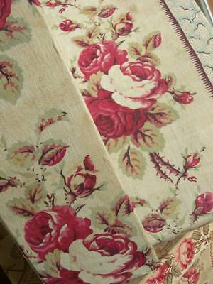 1 large antique vintage French fabric covered boudoir box - 1870s cabbage roses