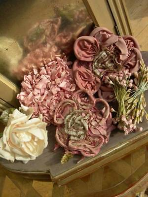 Collection antique French silk ribbonwork rosettes roses flowers millinery stame