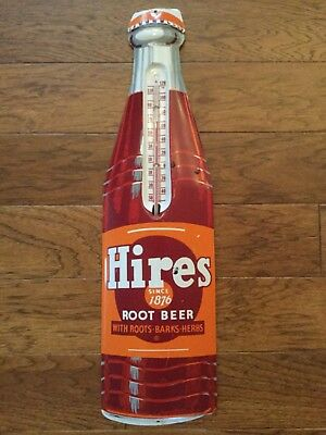 """Vintage Hires Root Beer Thermometer, Pressed Tin, H 29"""" W 8"""""""