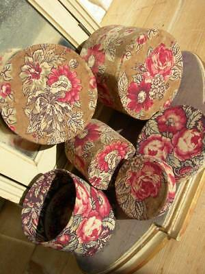 3 small round antique vintage French boudoir boxes - 19thC cabbage roses