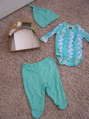 Kickee Baby Gift Set Outfit 3 Piece Teal/blue Fish Confetti Piranha & Box 3-6 Mo