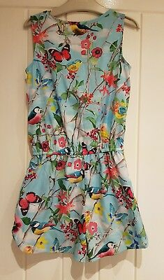 Next girls blue floral playsuit age 5yrs