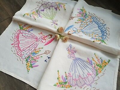 Wonderful Vintage Hand Embroidered Tablecloth with Crinoline Ladies