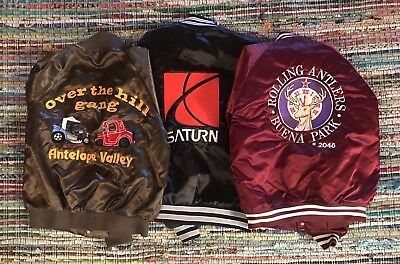 Vintage Satin Jacket Lot Of Three / Elks Club - Car Club - Saturn Auto Sz M