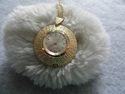 """""""King Flower"""" Burgana Swiss Made 17 Jewels Wind Up Necklace Pendant Watch"""