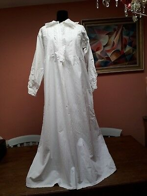 Vintage Victorian Nightgown Nightdress White Cotton Embroidery Large