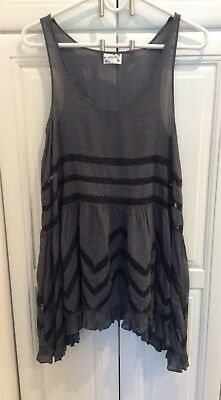 Intimately Free People Gray Dotted Slip with Black Lace Inserts - Size XS