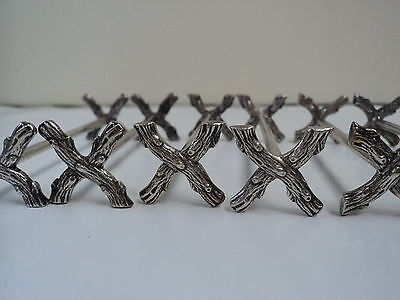6 Silverplated Wooden Branch Pattern Knife rests - Signed J F