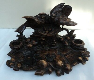 Antique Black Forest Carving Double Inkwell / Inkstand ~ Birds and their Nest