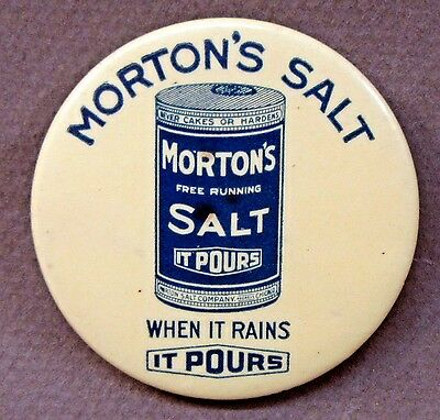 circa 1920 MORTON'S SALT celluloid advertising pocket mirror *