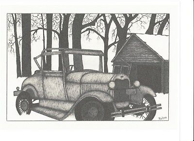 """Pen and Ink Drawing """"OLD CAR"""" by Andrew W. Rulon"""