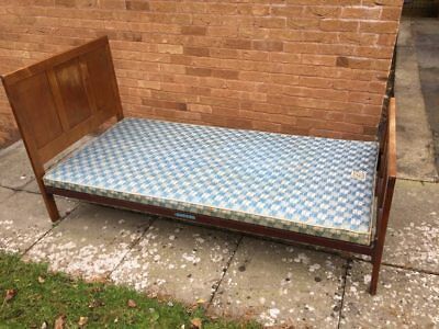 Vintage Heals Single Bed - Oak with metal frame and box base