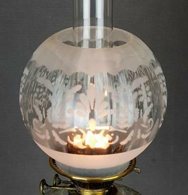 Sand Etched Glass Kerosene Paraffin Oil Electric Lamp Optic Ball Shade Duplex