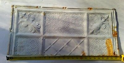 "24""x 11"" Antique Ceiling Tin Tile Reclaimed  Metal Vintage Cutoff Shabby Chic"