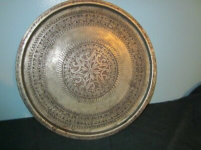 Large Antique Arabic/Persion Islamic Tray Copper Hand Chased (see photos) OBO