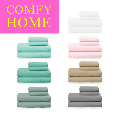 40% OFF - 4 Pcs Ultra Thick Bed Sheet Set Solid Color Deep Pocket Hotel Quality
