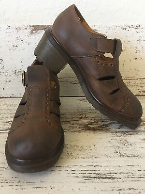 Doc Martens Vintage Mary Janes Chunky Heel Buckle Brown Leather Shoes Size 7