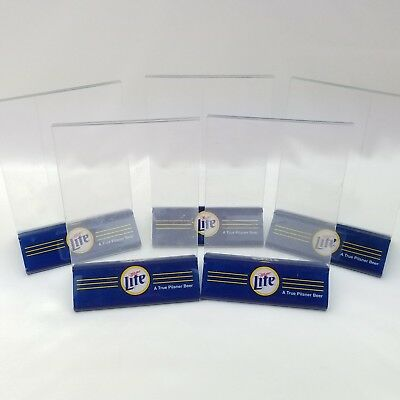 5 Miller Lite Beer Acrylic Plastic Table Top Tent Menu Sign Holder Lot Mancave & BEER SIGN LOT Miller Lite Retro Can Tin Tackers NEW man cave or ...