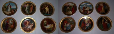 Vintage Danbury Mint The Ten Commandments 12 Piece Plate Set 24kt Gold Decorated