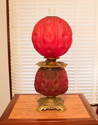 Antique Gone With The Wind  Acid Edged Red  Victorian Glass Banquet Lamp