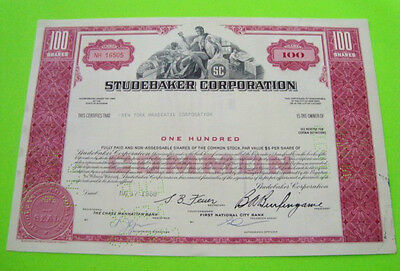 1960's STUDEBAKER CORP. STOCK CERTIFICATE Red 100 Shares ORIGINAL Cancelled XLNT
