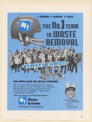 1979 Yeager's Raiders BFI Waste Systems Football Theme Print Ad