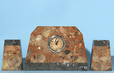 "Vintage French(?) Art Deco ""Two Tone"" Marble Mantle Clock with Garnitures"