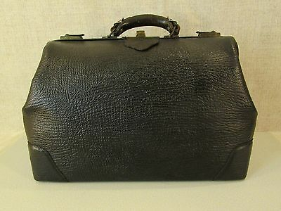 Early 1900 Antiq Real Blk Cowhide Leather Physican Doctors Medical Bag Case Usa