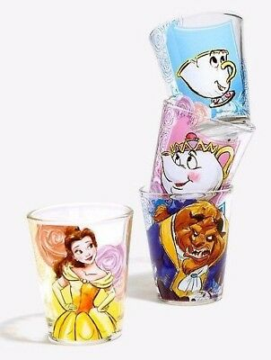 Disney Movie Beauty And The Beast 4 Shot Glass Set Princess Belle Mrs Potts Chip