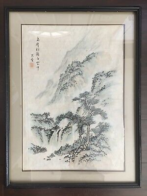 Fine Old Chinese SIGNED Watercolor Mountain Scholar Art Painting w Frame NR