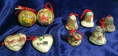Vintage 9 Paper-Mache Christmas Ornaments Hearts, Bells, Round